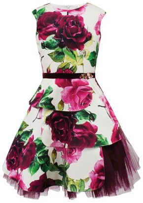David Charles Floral Satin Belted Dress (6-16 Years)