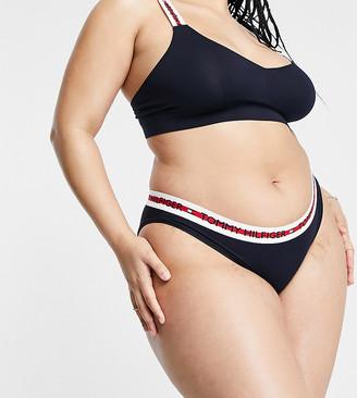 Tommy Hilfiger Curve organic cotton bikini briefs in navy