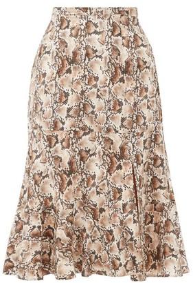 Altuzarra Clementine Snake-print Silk Crepe De Chine Skirt - Ivory