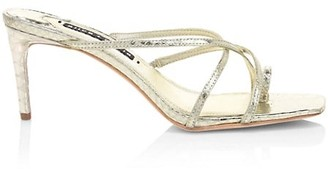 Alice + Olivia Sabrine Metallic Croc-Embossed Leather Mules