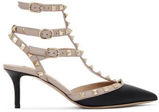 Valentino Pink and Black Garavani Rockstud Cage Heels
