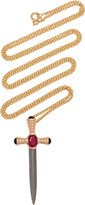 Gavello 14K Gold And Silver Ruby And Onyx Chain Necklace