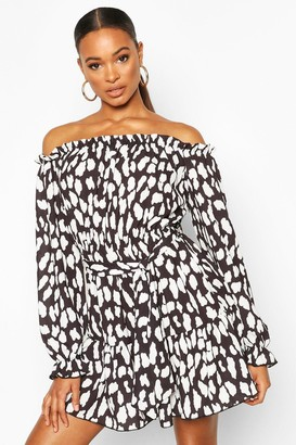 boohoo Dalmation Print Off The Shoulder Dress