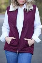 SNAZZY CHIC BOUTIQUE Burgundy Sherpa Vest