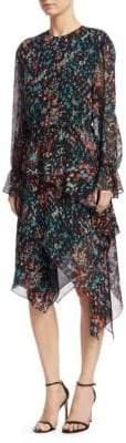 IRO Printed Long-Sleeve Asymmetric Dress