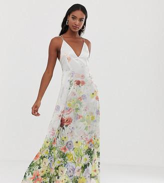 Asos DESIGN Tall cami satin trapeze maxi dress in meadow floral prin