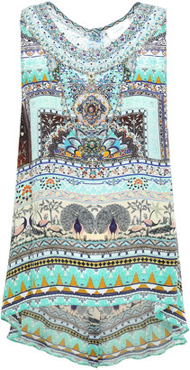 Camilla The King And I Crystal-embellished Printed Silk Crepe De Chine Top