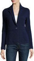 Neiman Marcus Cashmere Button-Front Sweater, Navy
