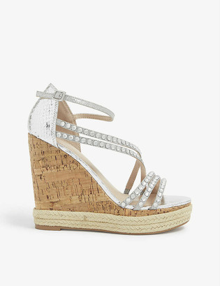 Carvela Kingsize faux-leather and cork wedge sandals