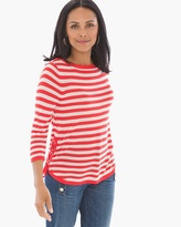 Chico's Grommet Detail Striped Pullover