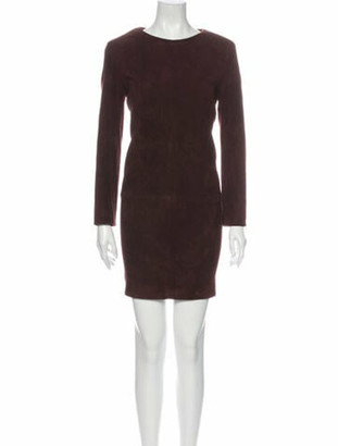 The Row Scoop Neck Mini Dress Brown