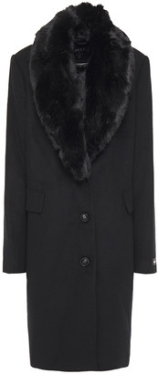 DKNY Faux Fur-trimmed Wool-blend Felt Coat