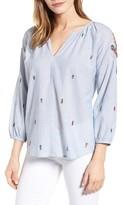 Velvet by Graham & Spencer Women's Embellished Stripe Cotton Top