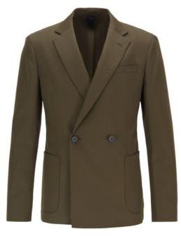 Double-breasted slim-fit jacket in virgin wool