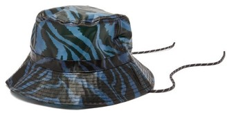 Ganni Zebra-print Pvc Bucket Hat - Womens - Blue