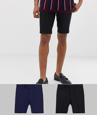 Asos Design DESIGN 2 pack slim mid length smart shorts in black and navy SAVE-Multi
