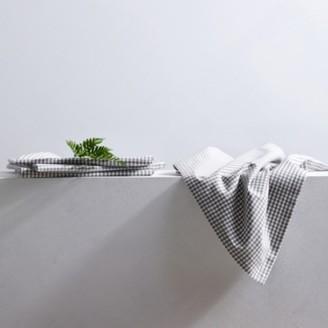 The White Company Gingham Napkins - Set of 4, White Grey, One Size