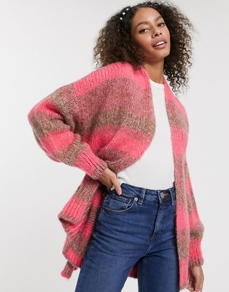 Asos Design DESIGN space dye cardigan with belt-Pink