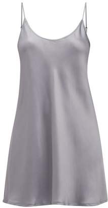 La Perla Scoop-neck Short Silk-satin Slip Dress - Womens - Dark Grey