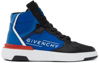 Givenchy Black and Blue Wing High Sneakers
