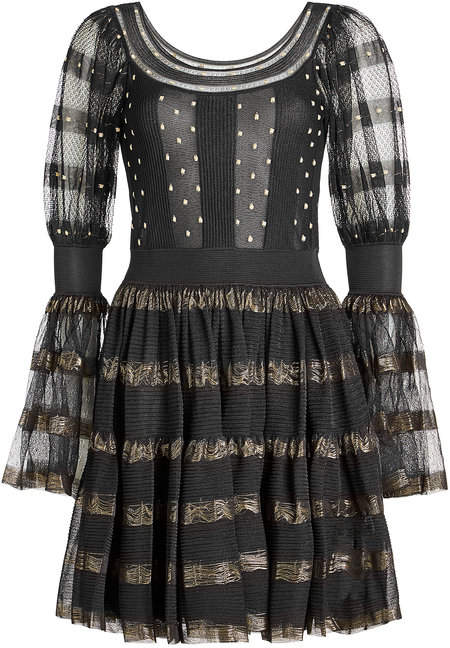 Alexander McQueen Silk Mini Dress with Metallic Thread