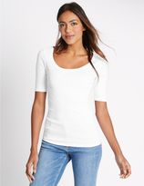Marks and Spencer Pure Cotton Scoop Neck Half Sleeve T-Shirt