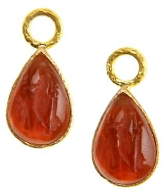 Elizabeth Locke Venetian Glass Intaglio 19K Yellow Gold Small Pear Shape Amber Earring Pendants