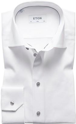 Eton White Twill Shirt With Grey Details - Slim Fit