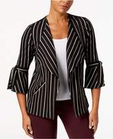 NY Collection Striped Open-Front Jacket