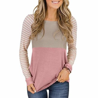 Buby Women's Sexy Casual Autumn Print Loose Long Sleeve Round Neck Tops Blouse T-Shirt Women Pullover Hoodies Sweatshirts Stripe Patchwork Tunic Tops Outwear Coat Jumper Coats Shirts Gray