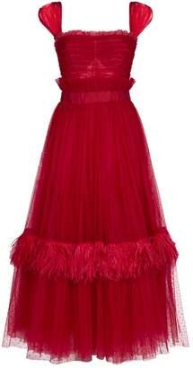 Dolce & Gabbana Flocked Tulle Flared Dress