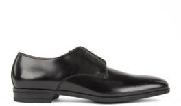 HUGO BOSS Derby Shoes In Burnished Leather - Black