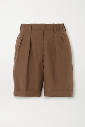 Giuliva Heritage Collection The Husband Pleated Grain De Poudre Wool Shorts - Brown