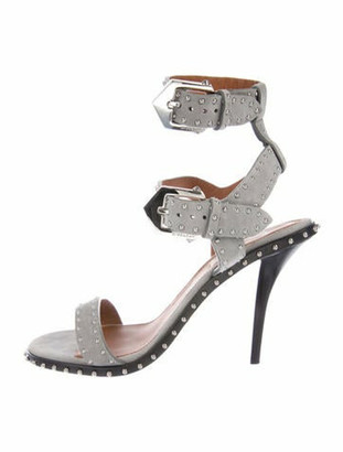 Givenchy Suede Studded Accents Sandals Grey