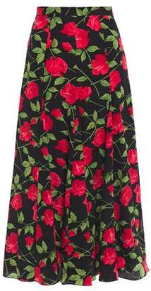 Michael Kors Belted Leather-trimmed Floral-print Silk Crepe De Chine Midi Skirt