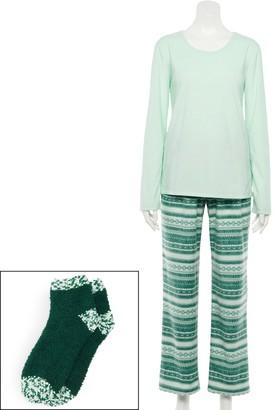 Croft & Barrow Women's Crewneck Pajama Tee, Pajama Pants & Socks Set