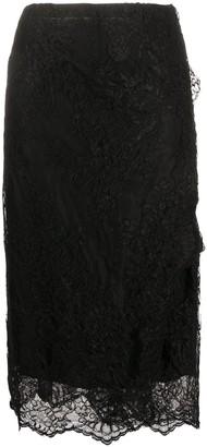Ermanno Scervino Lace Panel Midi Skirt