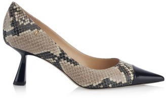 Jimmy Choo Rene Cap-Toe Snakeskin-Embossed Leather Pumps
