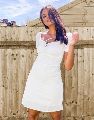 Pimkie puff-sleeved summer dress in white