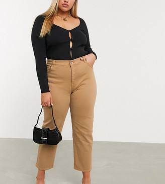 ASOS DESIGN Curve high rise stretch 'slim' straight leg jeans in tan