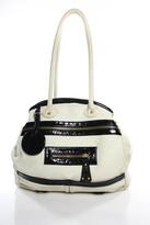 Gustto White Black Patent Leather Detail Double Strap Shoulder Handbag