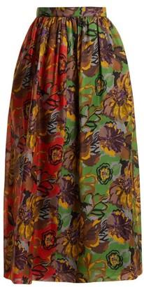 Duro Olowu Floral-print Silk-gazar Skirt - Green Multi