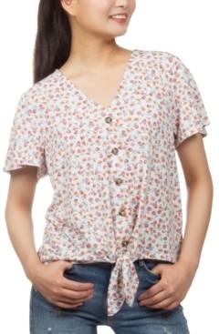 Hippie Rose Juniors' Floral-Print Button-Detail Tie-Front Top