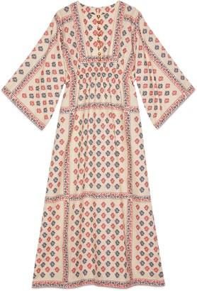 Gucci GG flower fil coupe long kaftan dress