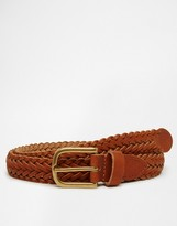 Asos Super Skinny Leather Plaited Belt In Tan