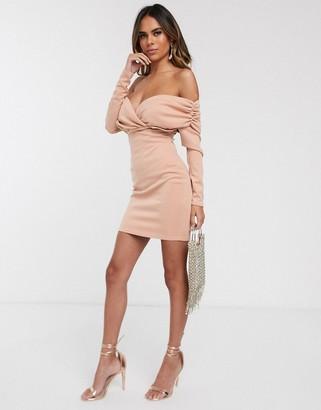 ASOS DESIGN scuba bardot ruched side long sleeve mini dress