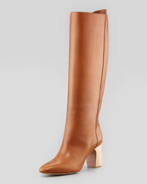 Chloé High-Heel Leather Pull On Boot, Brown