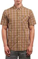 Volcom Men's Melvin Short Sleeve Plaid Button up Shirt