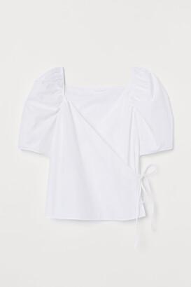 H&M Wrapover Cotton Poplin Blouse