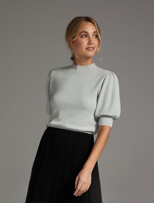Forever New Alicia Puff-Sleeve Knit Tee - Pale Sage - 6